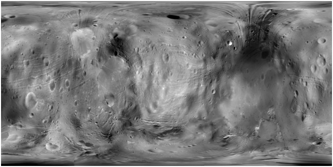 Triaxial ellipsoid orthoimage of Phobos