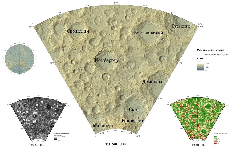 The wall maps layout of the terrain parameters in South polar Moon region