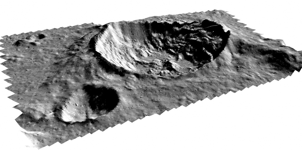 Three-dimensional model of the lunar craters Anaxagoras: ortho LRO NAC (0.5 m / pixel), DEM LOLA (30 m / pixel)