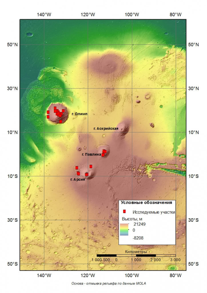 Map of Mars craters in Tharsis